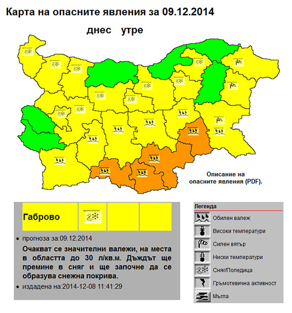 Жълт код за област Габрово - 9 декември 2014
