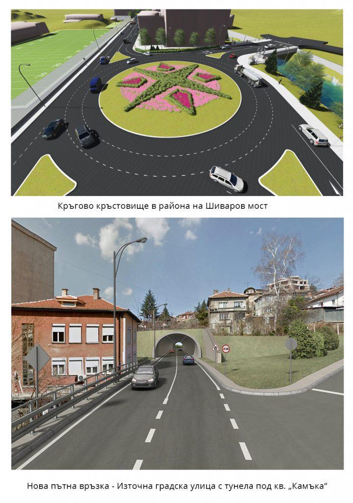 Кръгово кръстовище на Шиваров мост. Нова Източна градска улица
