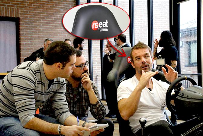 Себастиян Льоб обяснява на журналистите особеностите на неговата нова игра. Деветкратният световен шампион е седна в спортната седалка, изработена в Габрово, а логото на RSeat личи ясно на снимката. Източник: bgnrc.info