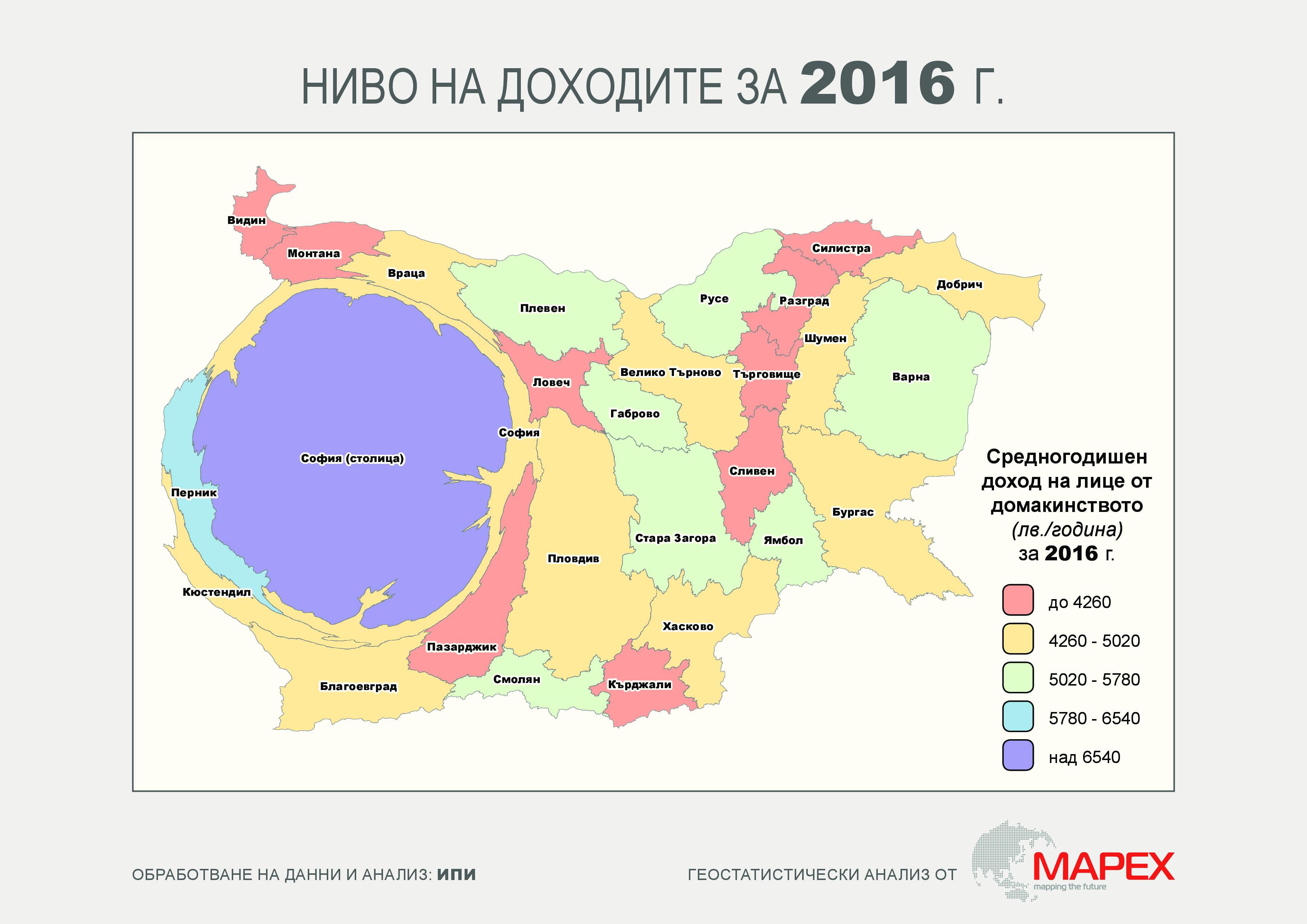 Ниво на доходите в България през 2016 г. по области. Източник: ИПИ, Мапекс
