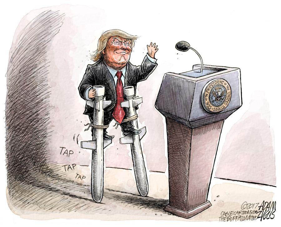 """Автор: Адам Зиглис, част от изложбата """"Тръмп – 9 месеца по-късно"""" в Дом на хумора и сатирата"""