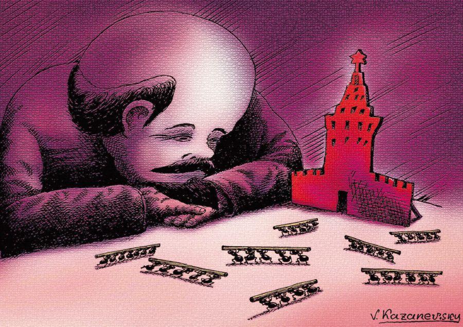 """Автор: Владимир Казаневски, част от изложбата """"100 години от Октомврийската революция"""" в Дом на хумора"""