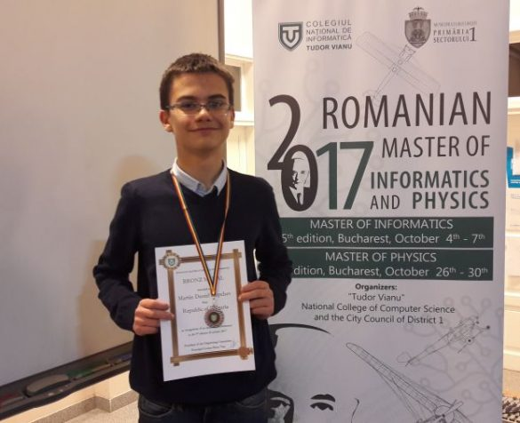 Мартин Копчев с бронзов медал от Romanian Master of Informatics 2017