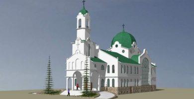 """Визуализация на новостроящия се храм в Габрово """"Св. св. Онуфрий, Дамаскин и всех мучеников Габровских"""""""