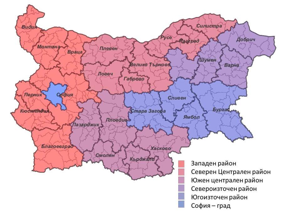 Вариант 3 с шест района за планиране в България. Източник: МРРБ