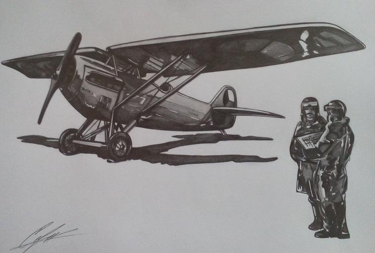 Самолет Шкода D-1. Рисунка: Стефан Иванов