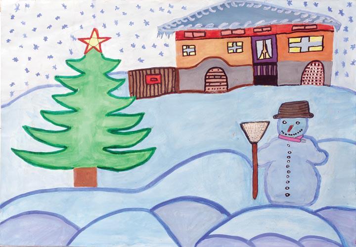 """Снежно Габрово за деца"", автор Момчил Цонев. Детска рисунка от фонда на ОУ ""Ран Босилек"""